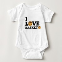 I Love Basketball Sports Baby Jersey Bodysuit