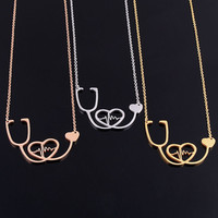 18K Rose Gold/Silver Nurse/Doctor Medical Stethoscope  Necklaces