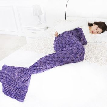 New Creative Mermaid Tail Blanket Fashion Pure Color Fish Scales Knitting Blankets Soft Comfortable Sleeping Bag Trendy Photogra