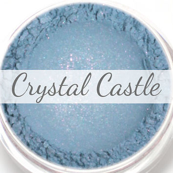 "Eyeshadow Sample - ""Crystal Castle"" - Blue with Pink and Turquoise Shimmer Vegan Mineral Eyeshadow Net Wt .4g Mineral Makeup Eye Color"