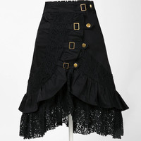 Gothic Steampunk Lace Skirt in Black