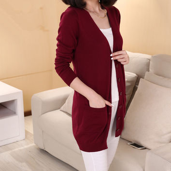 2015 spring cashmere cardigan female medium-long wool sweater loose long-sleeve plus size sweater