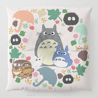 Pink Totoro Kawaii My Neighbor Floor Pillow Round Square Cushion Anime Decorative Grey Graphic Print Home Decor Ghibli Wreath Fan Cute Pouf