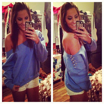 Studded Light Blue Off the Shoulder Sweatshirt Sz. Large