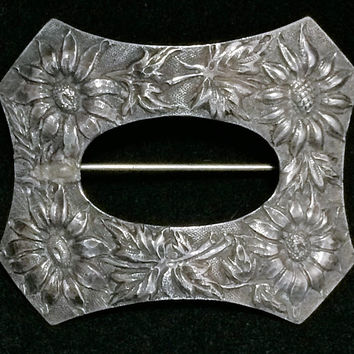 Sterling Silver Sash Brooch Pin Large Art Nouveau Era Sunflower Floral Repousse Design Vintage Jewelry 518