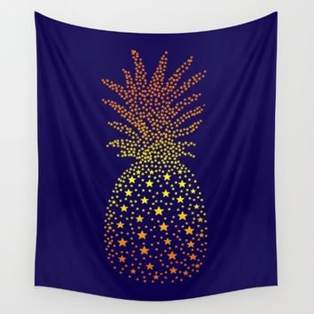 Golden Pineapple Stars Wall Tapestry by ES Creative Designs