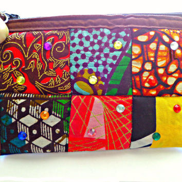 Ethnic Print Make-Up Case, Wristlet, African Print Coin Purse, Kente Print Pouch, Ankara Quilted Accessory Bag, Mobile Phone Carrier