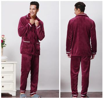 COCKCON New Luxurious Men Pajamas Winter Thickening Men Pyjamas Warm Sleepwear Lounge Pajama Sets 3XL Mens Pajamas 601318