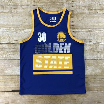 NBA Golden State Warriors Blue / Gold #30 Steph Curry Jersey Tank Top YOUTH Size M 10-12