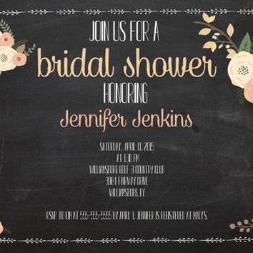Printable Rustic Floral Chalkboard Bridal Shower Invitation