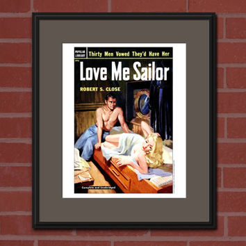 Vintage Pulp Cover 8x10 Art Print Pulp Paperback Cover Dime Novel Cover Nautical Home Decor Vintage Book Art Risque Art Retro Novel Cover