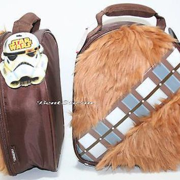Licensed cool Star Wars Chewbacca Wookie Furry INSULATED Kids Lunch Bag Tote Box Disney NEW