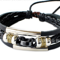 Leather Bracelet Mens Wrap Multilayer Bracelet & Bangles Jewelry vintage bead Bracelet Black