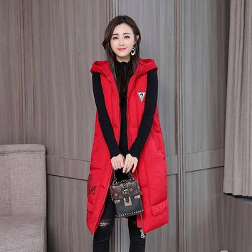 HETOBETO Fashion Women Vests Waistcoat Winter Mid-long Down Cotton Padded Vest Female Sleeveless Jackets Hooded Coat