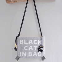 Black Cat In Bag - cat pattern shoulder bag/clutch, black and yellow message bag