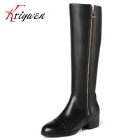 Plus size 31-45 Winter Cowhide100% genuine leather knee high boots warm chains female double zipper shoes work motorcycle botas