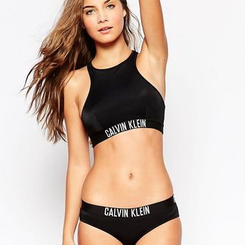 Calvin Klein Intense Power Crop Bikini Top at asos.com