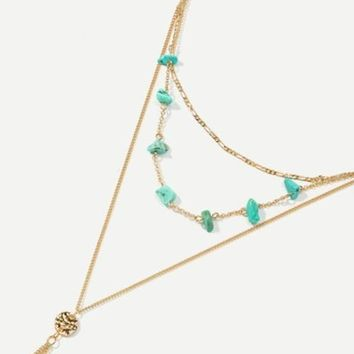 Stone Detail Lariats Chain Necklace