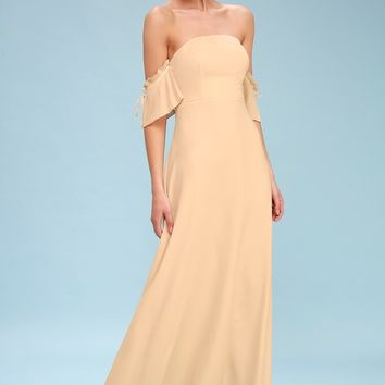 Hallie Nude Off-the-Shoulder Maxi Dress