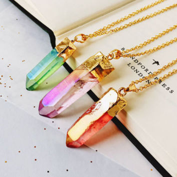 Rainbow Quartz Point Necklace