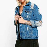 Jodie Oversized Super Distressed Denim Jacket