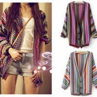 Boho Ethnic Colorful Wave Stripe Knit Top Blouse Sweater Cardigan
