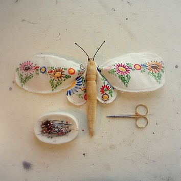 Moth made from vintage tablecloth by MisterFinch on Etsy