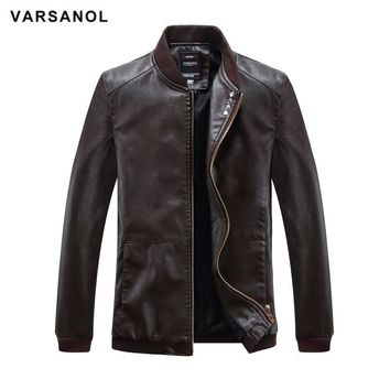 Varsanol Leather Bomber Jackets Men Long Sleeve Winter Thick Pocket Man PU Jackets Outerwear Hot Sale Zipper Brand Clothing 4XL