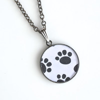 Paw print pendant, resin paw prints, paw print necklace, dog paw prints, resin necklace, pet lover pendant, women's jewelry, resin jewelry
