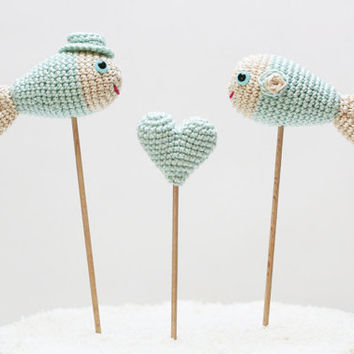 Mint Blue Fish Cake Topper Wedding Nautical Crochet Decor Photo Prop
