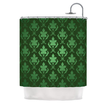 "KESS Original ""Emerald Damask"" Green Pattern Shower Curtain"