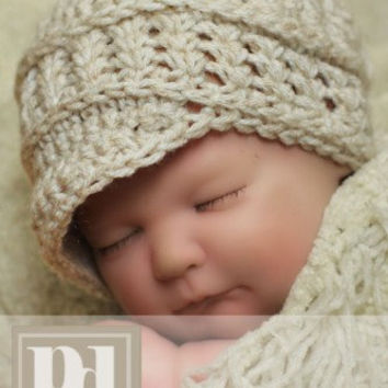 Newborn Textured Newsboy w/shells and braid trim Crochet PDF Pattern