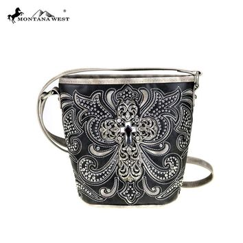 Montana West Cross Body Bag Bling Cross Spiritual Collection Bucket Shaped Purse