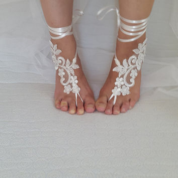 bridal accessories, silver frame,ivory lace,   wedding sandals,  shoes,   free shipping!   Anklet,   bridal sandals,  bridesmaids,  wedding