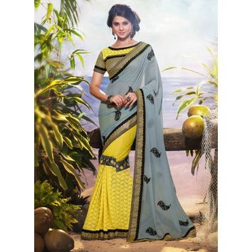 Jennifer Winget Teal and Yellow Georgette Saree With Blouse - TheEthnicWear