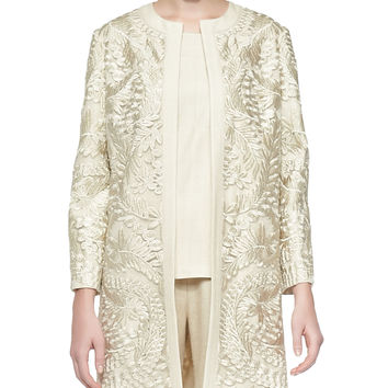 Long Embroidered Open Topper Jacket, Size: