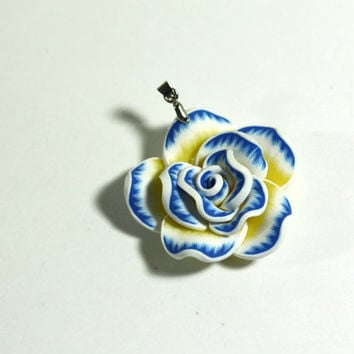 Blue, Yellow, and White Large Clay Rose Flower Pendant Bead on Bail - Jewelry Supplies - Jewelry Making