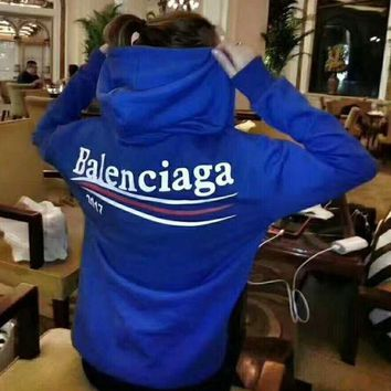 "Hot Sale ""Balenciaga""Fashion Women Casual Print Sport Loose Long Sleeve Hooded Pullover Top Sweater Hoodie Sweatshirt Blue I/A"