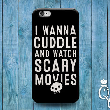iPhone 4 4s 5 5s 5c 6 6s plus iPod Touch 4th 5th 6th Generation Cute Black White Scary Halloween Cute Quote Phone Cover I Wanna Cuddle Case