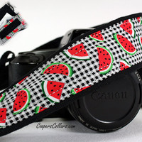 Watermelon dSLR Pocket Camera Strap, SLR, Plaid, Red