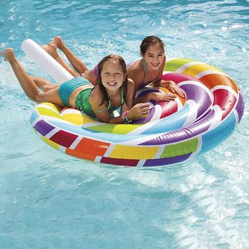 New Design 220CM Inflatable Lollipop Explosion Pool Float Lolly Swim Ring Lollypop Air Lounger Mattress