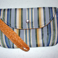 Striped Spring Clutch Purse, Handmadewith Wristlet, Fully Lined, Inside Pocket, Pearl Snap, for women, teens & girls