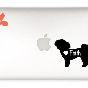 Shih Tzu Dog Decal- customizable shihtzu name - macbook, laptop, iphone, ipad, car window - custom size and color - dog sticker  - pet lover