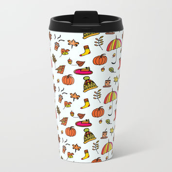 Fall Pattern I Metal Travel Mug by Sagacious Design