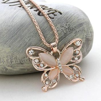 Rose Gold Acrylic Crystal 4CM Big Butterfly Pendant Necklace 70CM Long Chain