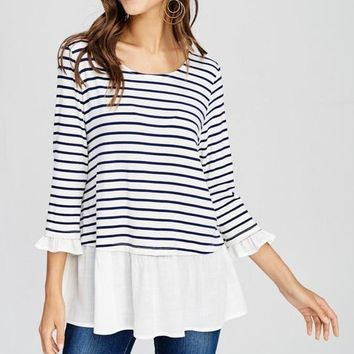 Navy Striped 3/4 Sleeve Ruffle Top