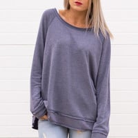 Kasia Round Neck Long Sleeve Top - Blue