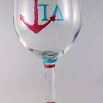 Delta Gamma Sorority Hand Painted Wine Glass