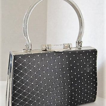 Black Sparkly  Purse, Lucite Handle, Top Handle Black Bag, Evening Bag, Silver Tone Metal