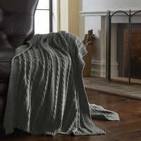 100% Cotton Oversized Sweater knit throws Gray